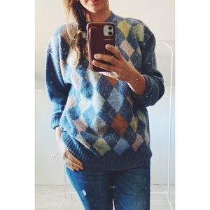 Vintage 100% Wool Argyle Crew Sweater